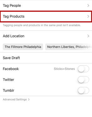 instagram tag product