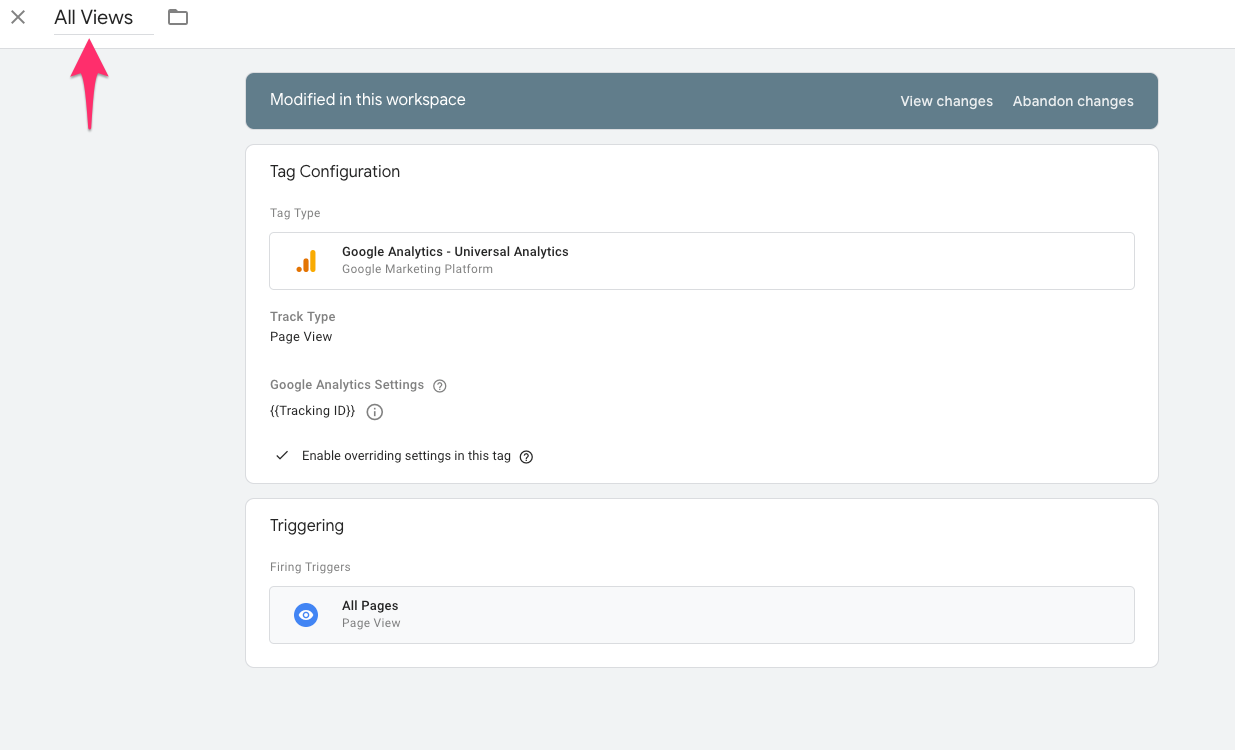 google tag manager all view